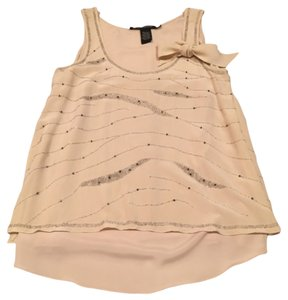 Quotation Beaded Sparkle Silk Flowy Feminine Chic Contemporary Glamorous Top Cream