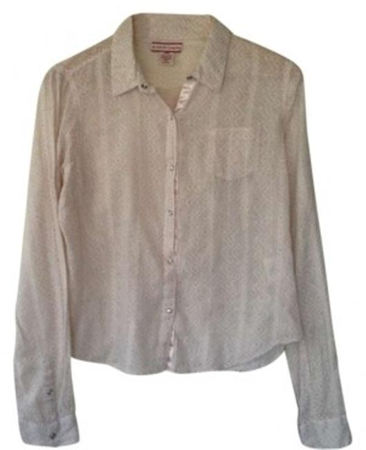 Item - Pink Embroidered Floral Button-down Top Size 10 (M)