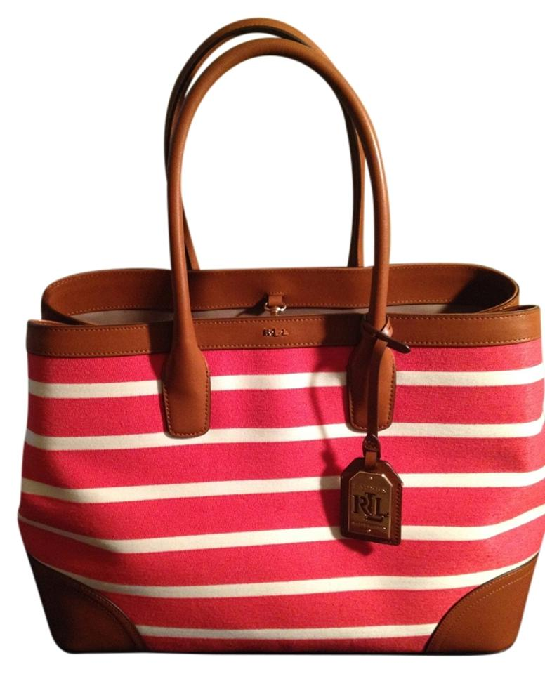 Lauren Ralph Lauren Fairfield City Striped Red and White Canvas Tote ... 08991b9cd2d03