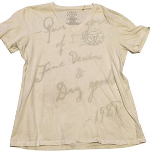 Guess V-neck Print Casual Classic Comfortable Cotton Logo Signature T Shirt White