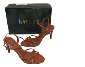 Lauren by Ralph Lauren Croco Brown Sz 8.5 POLO TAN Sandals
