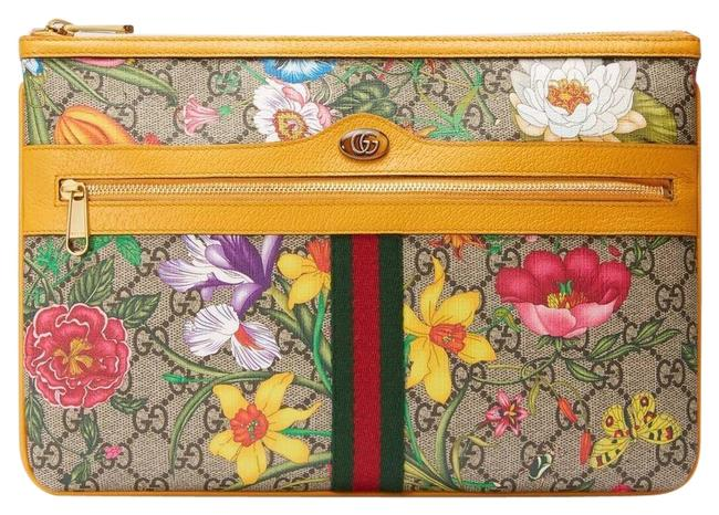 Item - Mini Bag 517551 Ophidia Gg Flora Pouch Beige Yellow Leather Clutch