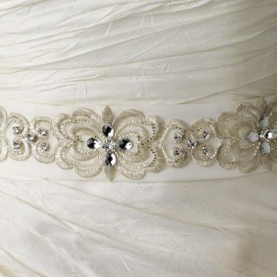 White Or Ivory Aislin Floral Rhinestone Embroidered Rhinestones Beads Swarovski Crystal Beads Belt Sash