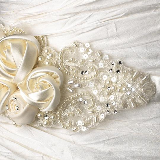 White Or Ivory Nora Intricate Rhinestone Pearl Beaded Lace Flower Belt Sash