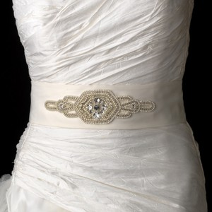 Fiona Decadent Faux Pearl & Rhinestone Wedding Bridal Sash - Belt