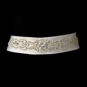 Bette Elegant Pearl & Rhinestone Accented Wedding Bridal Sash - Belt