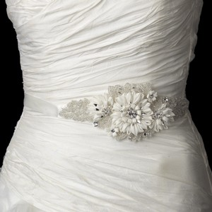 Fabulous Rhinestone Beaded Ivory Floral Wedding Bridal Sash - Belt