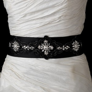 Stunning Black Beaded Floral Wedding Bridal Sash - Belt