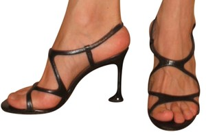 Charles Jourdan Leather Crisscross Strap Black Sandals