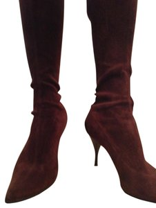 Sergio Rossi Elegant Sexy Leather Classic Boho Chocolate Brown Suede Boots