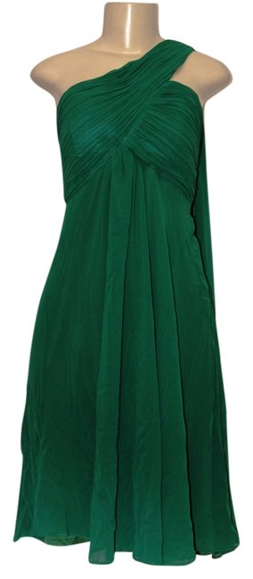 Item - Green With Tags Women's One Shoulder Ruffles Padded Bridesmaid Knee Length Night Out Dress Size 12 (L)