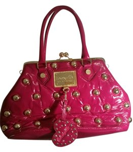 Betsey Johnson Studded Satchel in Fuchsia