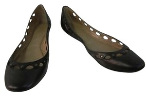 Sigerson Morrison Leather Cutout Studded Black Flats