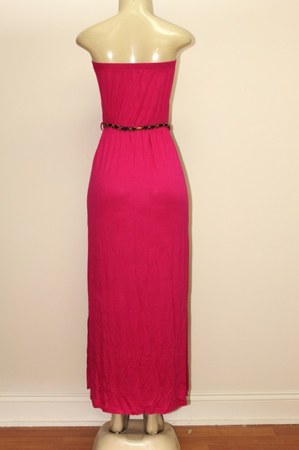 PINK Maxi Dress by EVOGUES Size Maxi Tube With Tassel Belt