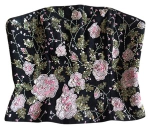 Alberto Makali Bustier Vintage Top Black/ Pink and Green Flowers Beads