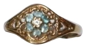 10K YELLOW GOLD WITH AQUAMARINE STONE LADIES RING