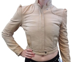 TKE Leather Cropped Biker Beige Leather Jacket