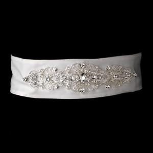 Carressa Stunning Matte Satin Vintage Crystal Wedding Bridal Sash - Belt