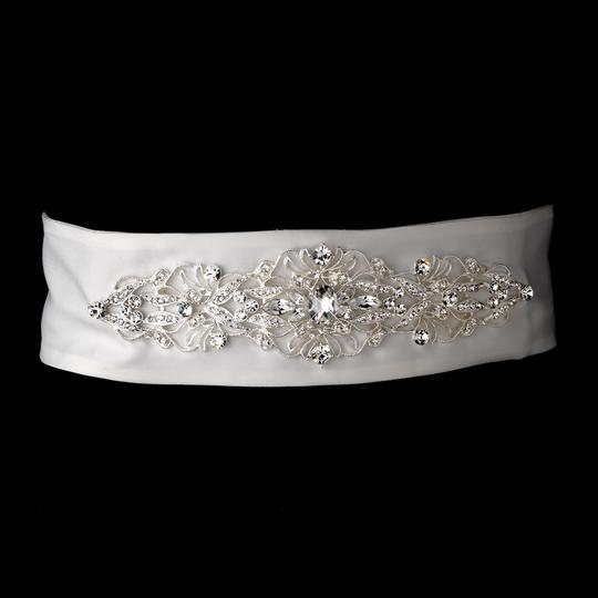 White Or Ivory Carressa Stunning Matte Satin Vintage Crystal Belt Sash