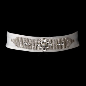 Modern Glittery Rhinestone Matte Satin Wedding Bridal Wedding Sash - Belt