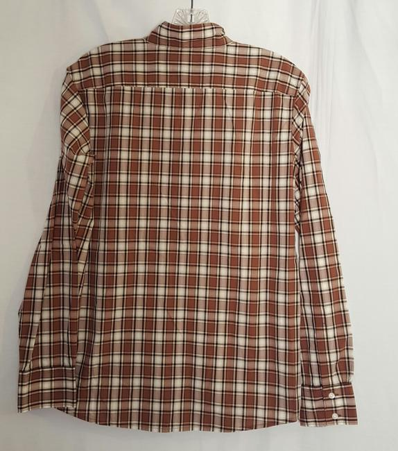 Gap Button Down Shirt brown white and light black Image 1