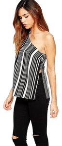 ASOS One Shoulder Striped Top black/white