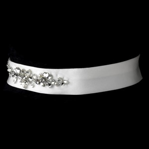 Darcia Crystal & Pearl Wedding Bridal Sash - Belt