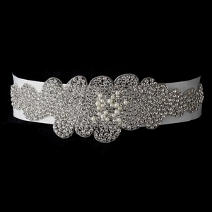 Luna Spectacular Rhinestone And Faux Pearl Embellished Wedding Bridal Sash - Belt