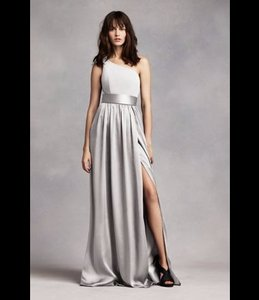 Vera Wang Sterling Long Soft Matte Charmeuse One Shoulder Vw360215 Formal Bridesmaid Mob Dress Size