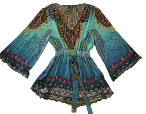 Sienna Rose Paisley Lace Embroidered Embroidery Full Sleeves Gypsy Boho Bohemian Turquoise Aqua Bright V Neck Tunic