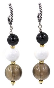 David Yurman Elements Drop Dangle Earrings in 925 Sterling Silver & 18k Yellow Gold with Black Onyx, White Agate and Smoky Quartz