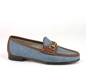 Gucci Womens 1953 Denim Blue Flats