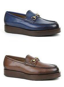 Gucci Mens Shaded Leather Platform Horsebit Loafer Shoes 353043