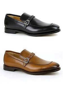 Gucci Mens Leather Loafer Dress Shoes Wbraided Strap 337038