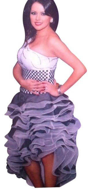 Cinderella Ruffled Party And Long Seed Beads One Off- Off Dress