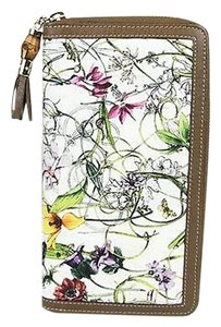 Gucci Gucci Floral Canvasleather Zip Around Wallet Travel 232977 9086