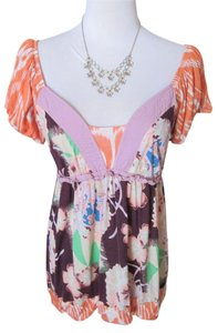 Anthropologie Floral Tropical V-neck Sweetheart Empire Waist Cap Sleeves Puff Sleeves T Shirt Orange, Purple, Lavender, Lilac, Pink, Blush, White, Green, Turquoise