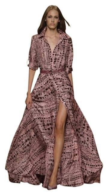 Preload https://img-static.tradesy.com/item/1224577/jenny-packham-pink-brown-croc-printed-silk-floor-length-shirt-long-night-out-dress-size-10-m-0-0-650-650.jpg