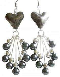 grey heart long earrings