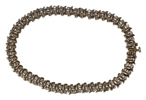 10K WHITE AND YELLOW GOLD DESIGN DIAMOND TENNIS BRACELET