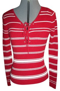 It's Our Time Longsleeve Red Medium Lightweight Rayon Blend Sweater