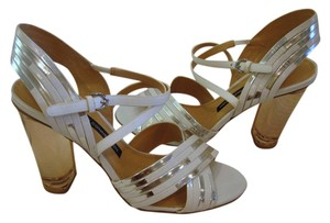 French Connection Silver and White Sandals