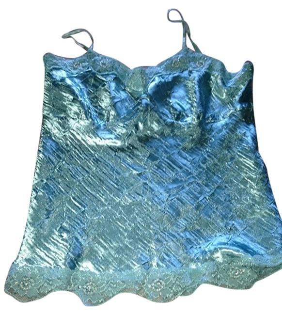 Maurices Shimmer Satin Beaded Lace Top Light Blue