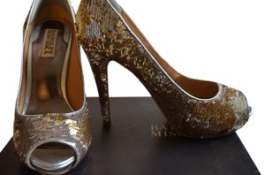 Badgley Mischka Sequins High Heel Rare Silver/Gold Formal