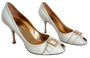 Dolce&Gabbana Leather Peep-toe White Pumps