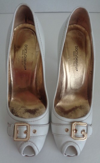 Dolce&Gabbana Leather Peep-toe D & G White Pumps