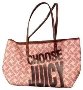 Juicy Couture Tote in Pink With Black Choose Juicy And Grey Dog Print