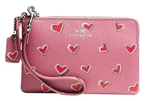 Coach Corner Zip Wristlet in Heart Print Coated Canvas