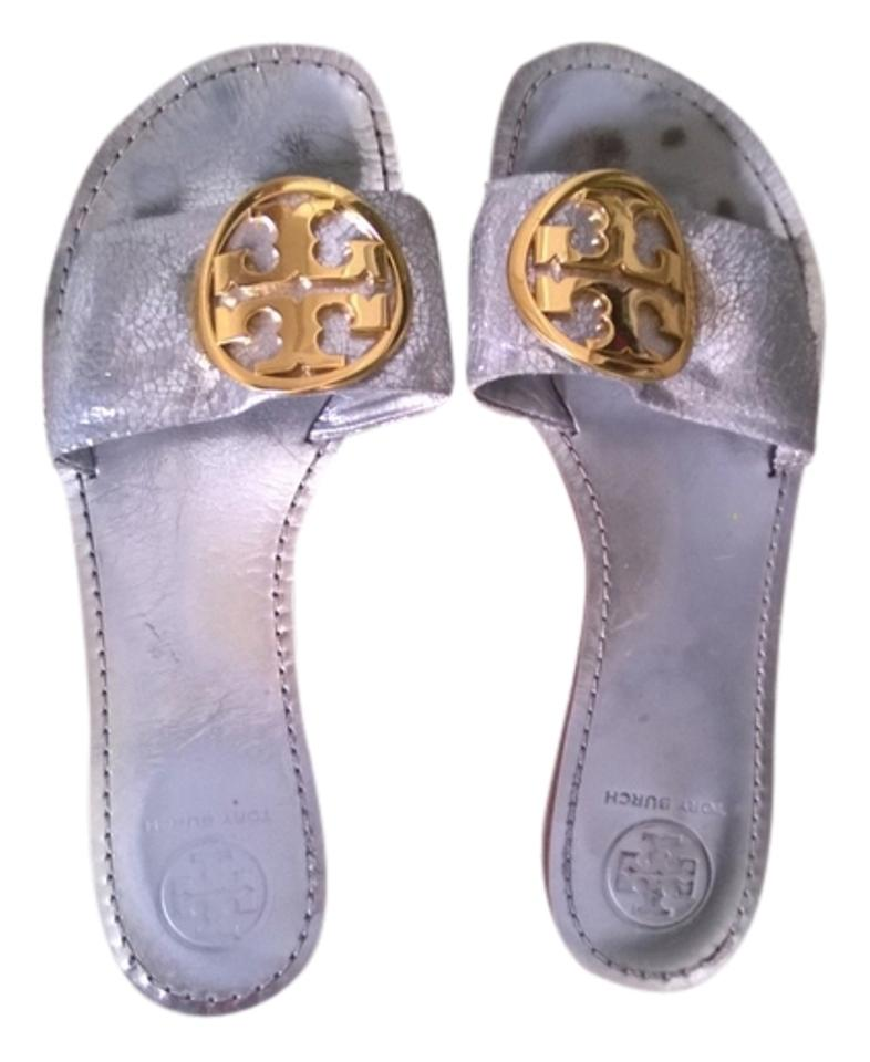 Tory Burch Silver and Gold Sandals Slide-on Sandals Gold 9112e5
