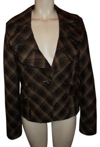 BCBGMAXAZRIA Wool Jacket brown, black & tan plaid Blazer